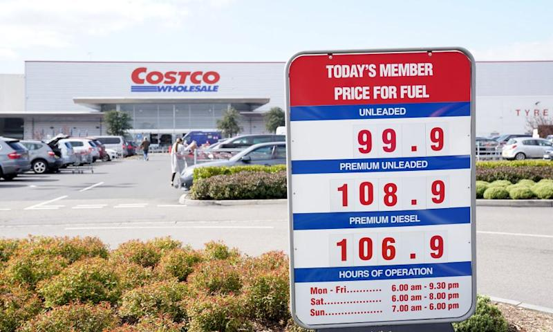 The price of petrol displayed at a fraction of a penny under £1/litre at Costo's filling station in Birmingham.