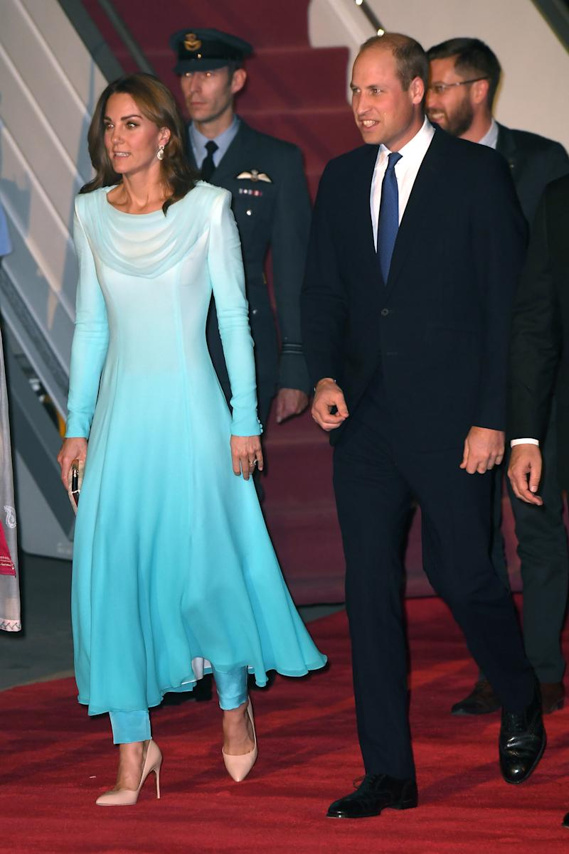 The Duke and Duchess of Cambridge arrive for their visit to Pakistan. [Photo: Getty]