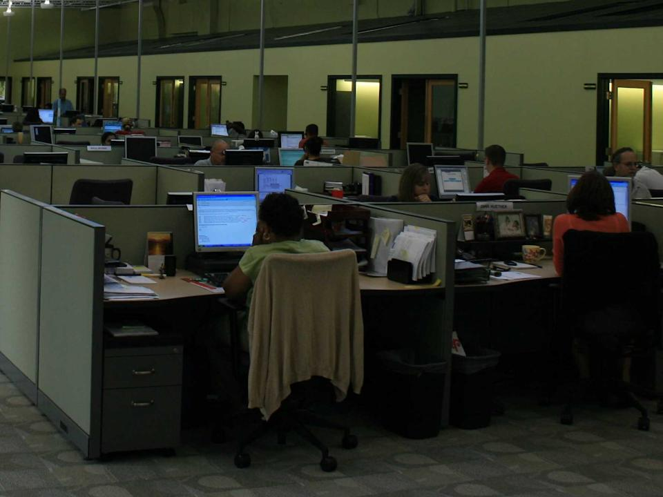 cubicles open office working workers
