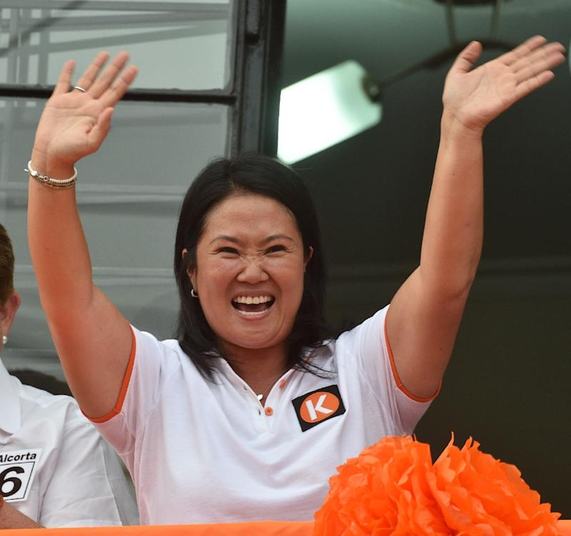 Peruvian presidential candidate for the April 10 general election, Keiko Fujimori leader of the Fuerza Popular Party, waves during a campaign rally in Lima, on February 9, 2016