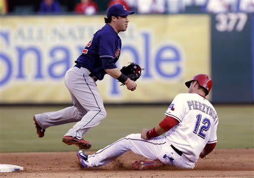 Cleveland Indians second baseman Jason Kipnis (22) jumps as Texas Rangers A.J. Pierzynski (12) slides into second base on the double play during the third inning of a baseball game Tuesday, June 11, 2013, in Arlington, Texas. Rangers Nelson Cruz was out at first. (AP Photo/LM Otero)