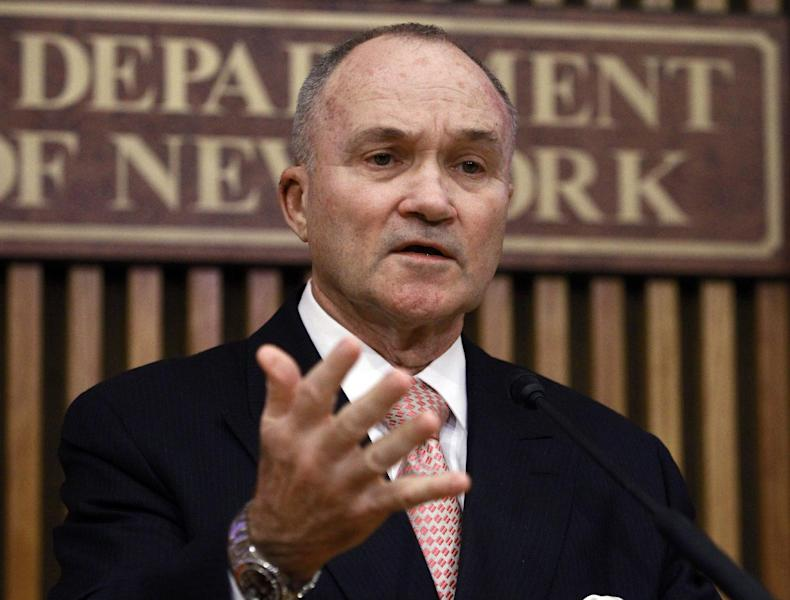 New York Police Commissioner Ray Kelly responds to questions during a news conference Friday, Feb. 24, 2012 in New York. The New York Police Department targeted Muslim mosques with tactics normally reserved for criminal organizations, according to newly obtained police documents that showed police collecting the license plates of worshippers, monitoring them on surveillance cameras and cataloging sermons through a network of informants. The documents, obtained by The Associated Press, have come to light as the NYPD fends off criticism of its monitoring of Muslim student groups and its cataloging of mosques and Muslim businesses in nearby Newark, New Jersey. (AP Photo/Frank Franklin II)