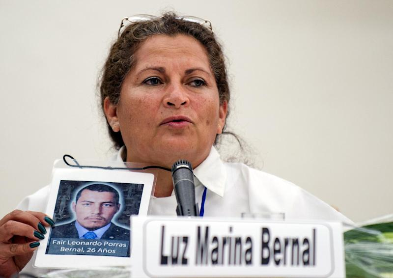 Luz Marina Bernal, speaks during a press conference on August 16, 2014, in Havana, during peace-talks between FARC-EP members and Colombian government delegation (AFP Photo/Yamil Lage)