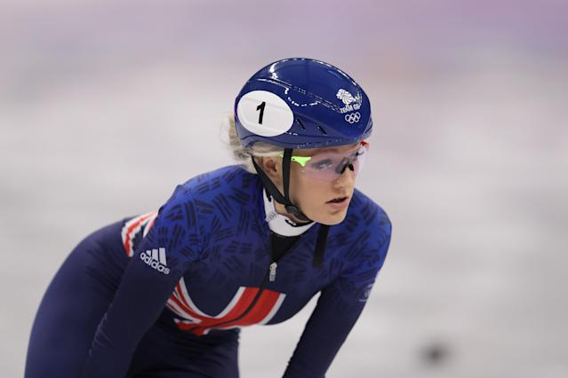 <p>Elise Christie of Great Britain leads during the Ladies' 500m Short Track Speed Skating qualifying on day one of the PyeongChang 2018 Winter Olympic Games at Gangneung Ice Arena on February 10, 2018 in Gangneung, South Korea. (Photo by Richard Heathcote/Getty Images) </p>