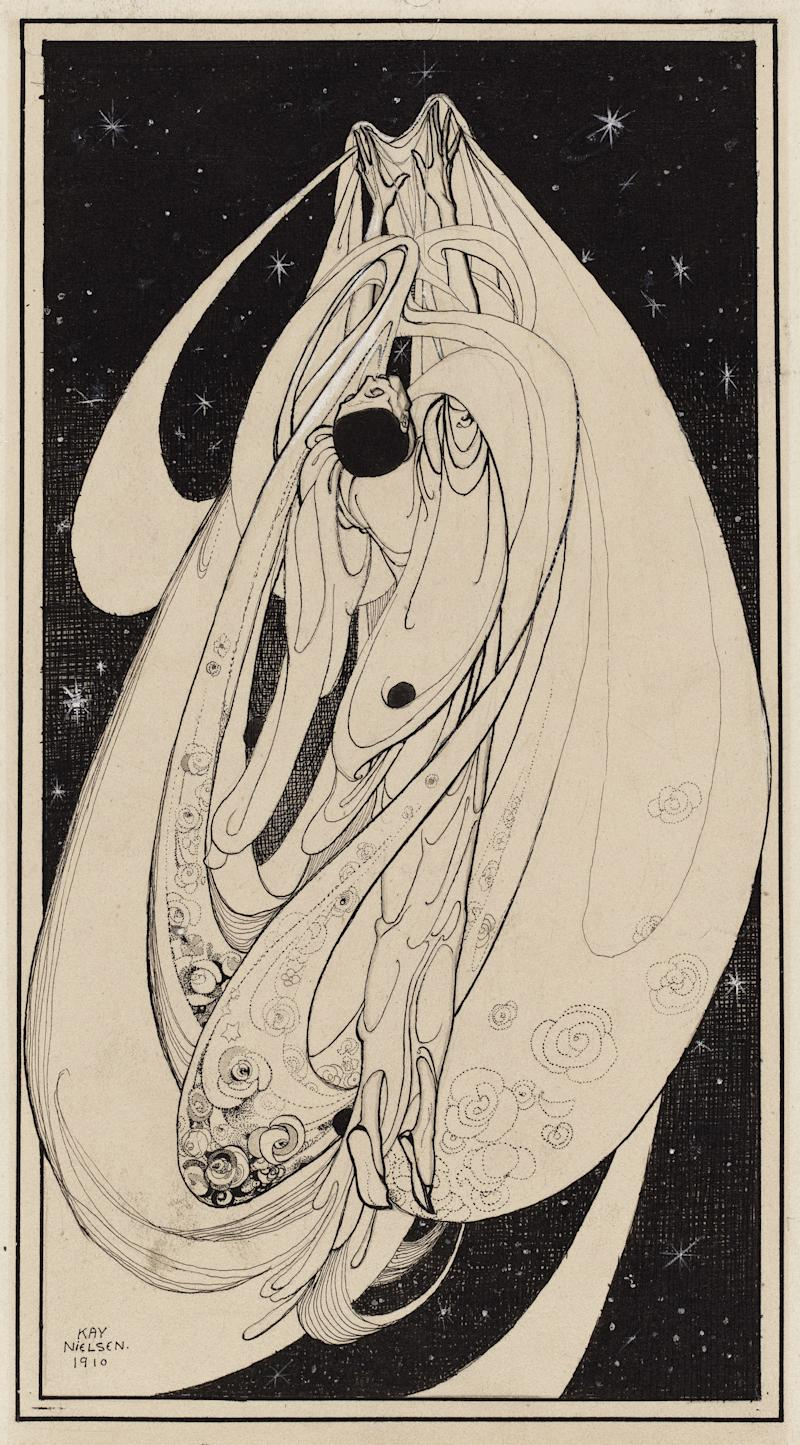 Yearning, from The Book of Death series. Kay Nielsen, 1910. Pen and brush and ink, opaque watercolor, over graphite. Promised gift of Kendra and Allan Daniel.