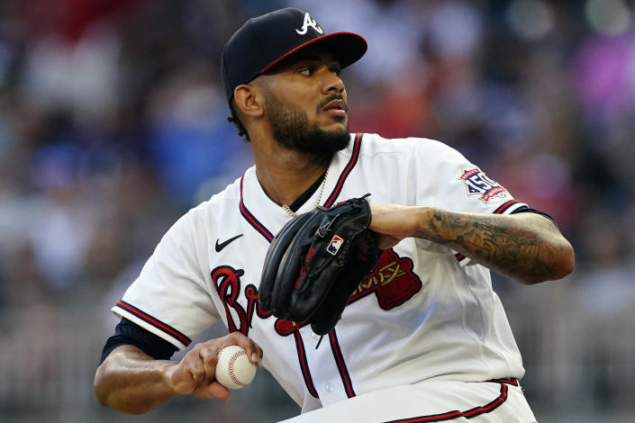 Atlanta Braves starting pitcher Huascar Ynoa delivers in the first inning of a baseball game against the San Francisco Giants, Saturday, Aug. 28, 2021, in Atlanta. (AP Photo/John Bazemore)