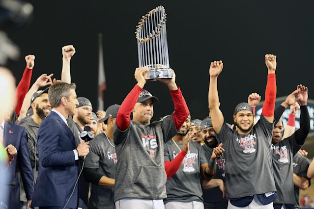 The Astros and Red Sox World Series trophies aren't coming back, and they definitely aren't going to the Dodgers. (Photo by Rob Leiter/MLB via Getty Images)