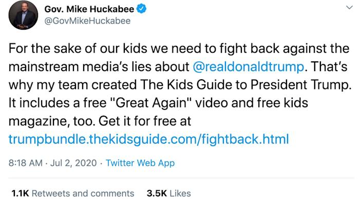 Mike Huckabee co-founded Learn Our History in 2011, in between his two presidential campaigns. (Photo: Twitter)