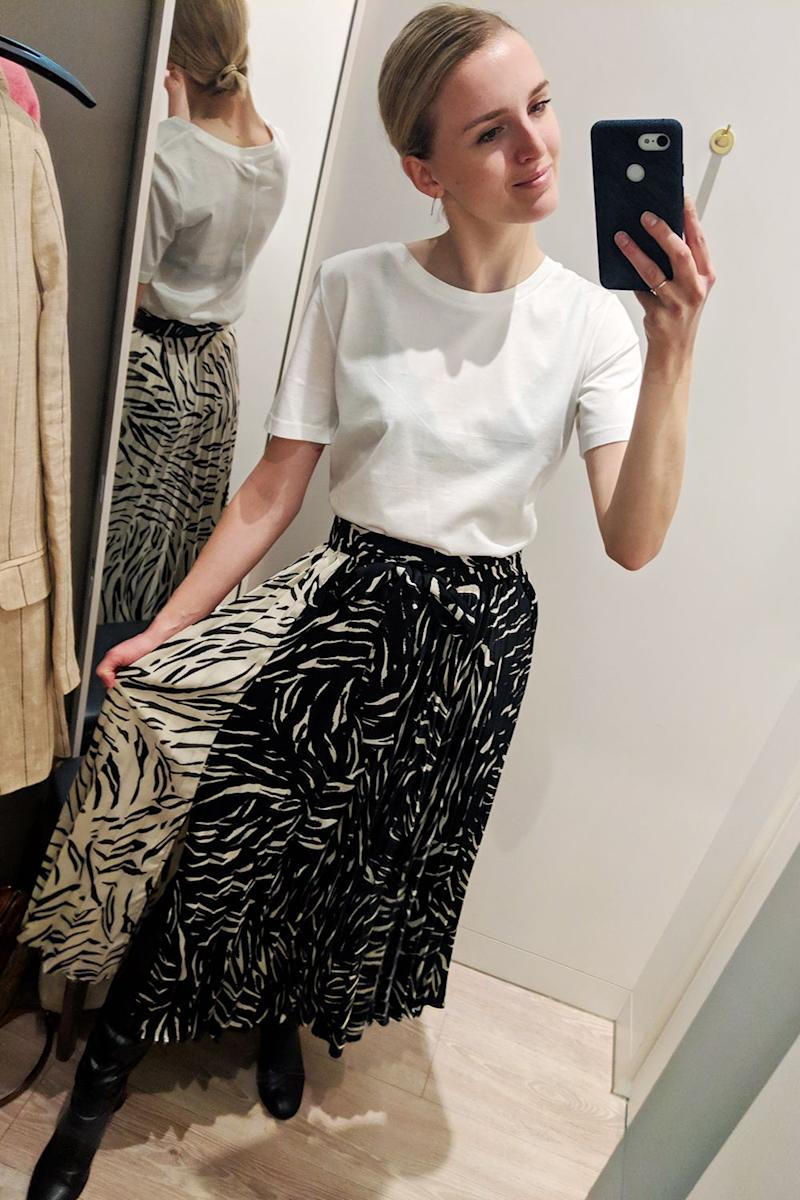 e3d4af8180 Style Notes: This pleated skirt does exactly what it says on the tin: it's  flattering, flowy, mid-calf length and has a versatile monochromatic print.