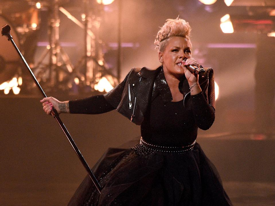 P!nk performs onstage for the 2021 Billboard Music Awards, broadcast on May 23, 2021 at Microsoft Theater in Los Angeles, California.