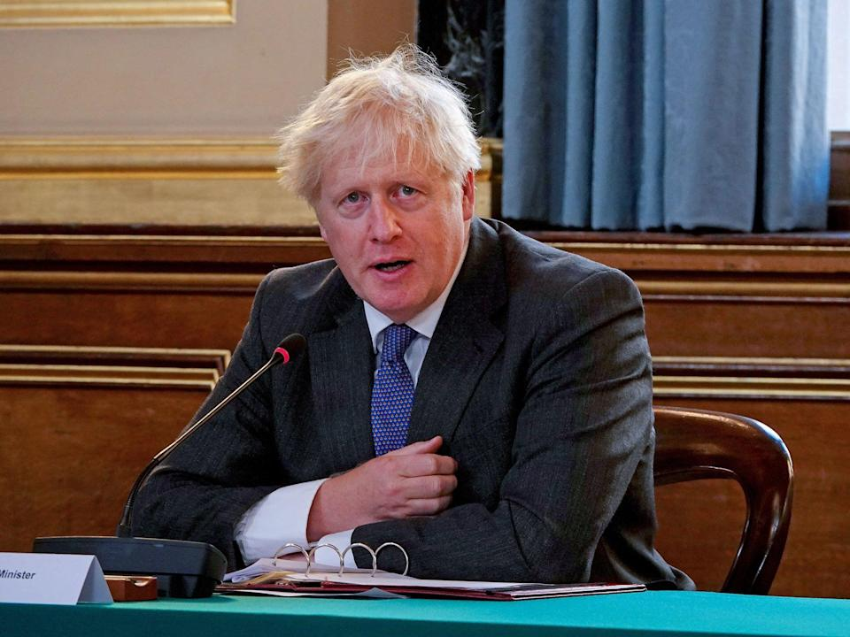 Britain's Prime Minister Boris Johnson speaks at the weekly cabinet meeting at the Foreign and Commonwealth office on September 15, 2020 in London (AFP via Getty Images)
