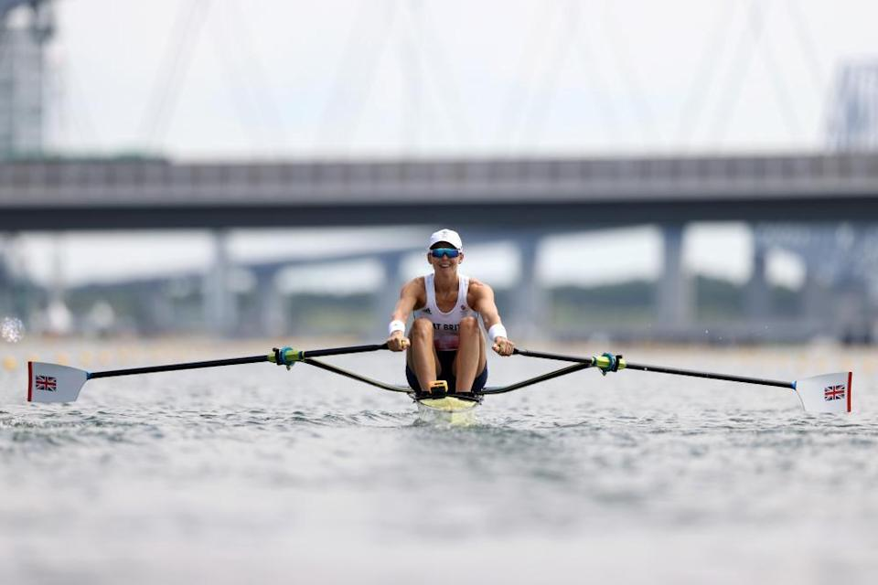 Victoria Thornley competes during the women's single sculls heats.