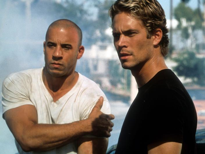 wine diesel and paul walker in the first fast and furious movie 2001