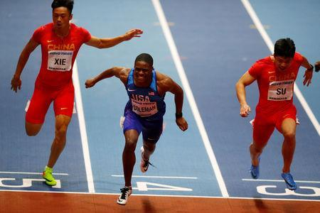 FILE PHOTO: Christian Coleman of the U.S. wins 60m final at Arena Birmingham, Birmingham, Britain - March 3, 2018. REUTERS/Phil Noble/File Photo