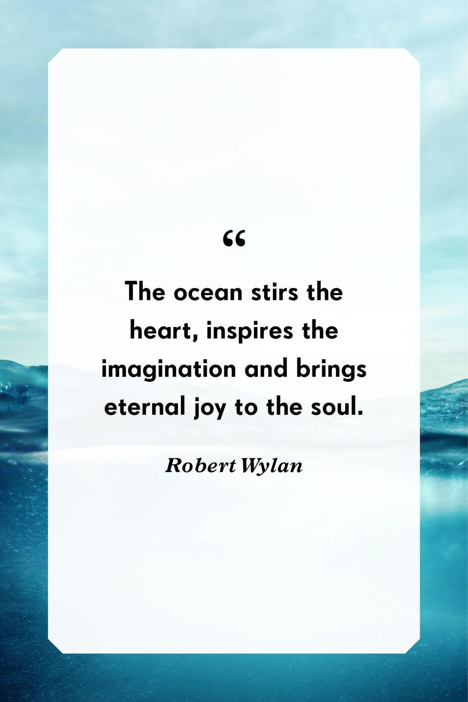 """<p>""""The ocean stirs the heart, inspires the imagination and brings eternal joy to the soul.""""</p>"""