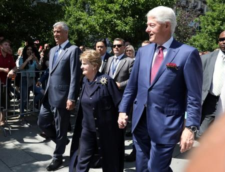 Former U.S. President Bill Clinton, Madeleine Albright, and President of Kosovo Hashim Thaci, walk during the 20th anniversary of the Deployment of NATO Troops in Kosovo in Pristina