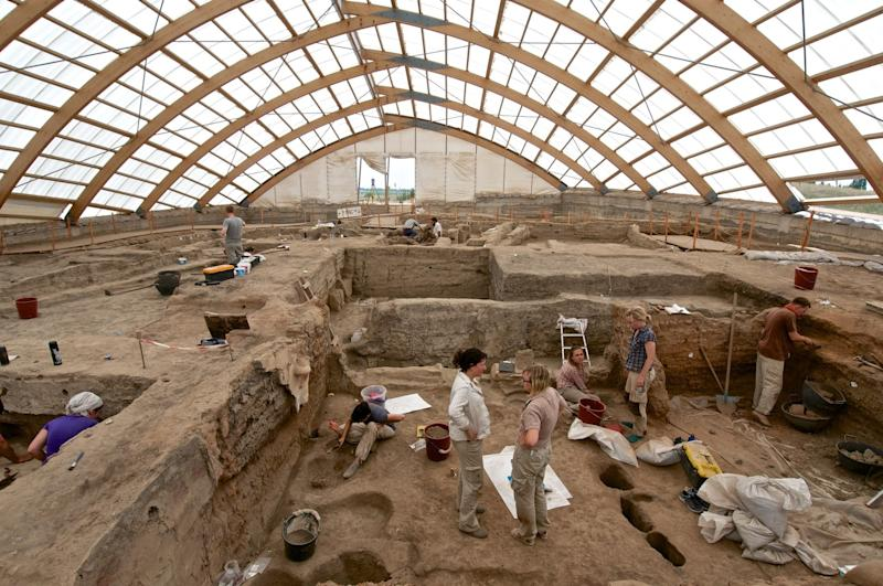 Team members of the Çatalhöyük Living Archive project in Turkey, excavating in the north area of the site.