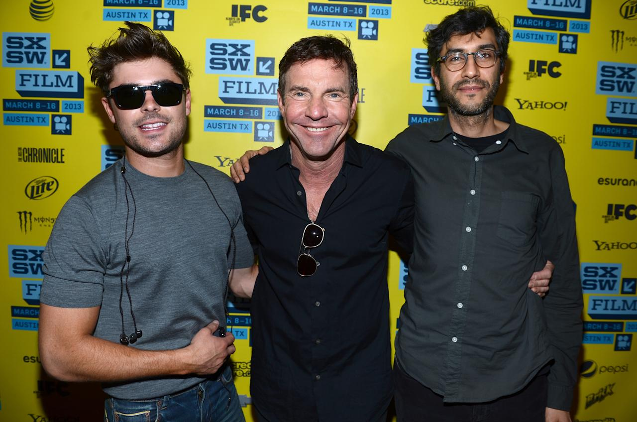 "AUSTIN, TX - MARCH 16:  (L-R) Actor Zac Efron, actor Dennis Quaid and director Ramin Bahrani arrives to the screening of ""At Any Price"" during the 2013 SXSW Music, Film + Interactive Festival at the Paramount Theatre on March 16, 2013 in Austin, Texas.  (Photo by Michael Buckner/Getty Images for SXSW)"