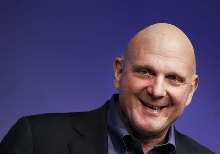 Microsoft Chief Executive Officer Steve Ballmer speaks at  the launch event of Windows 8 operating system in New York, in this file picture taken October 25, 2012. REUTERS/Lucas Jackson/Files
