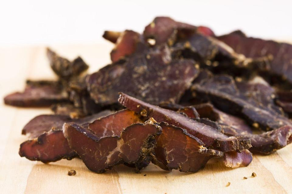 <p>Even though beef jerky is synonymous with road trips, it actually contains a lot of sodium that makes you thirsty and later develops into a need for the restroom. </p>