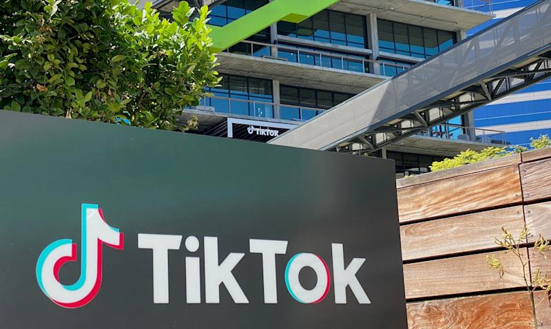 TikTok is seen on the side of the company's new office space at the C3 campus in Culver City, in the westside of Los Angeles (AFP via Getty Images)