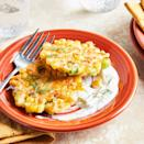 <p>This healthier version of classic corn fritters uses less oil for frying but still packs plenty of fresh corn flavor. A creamy dill sauce on the side brightens up each bite.</p>