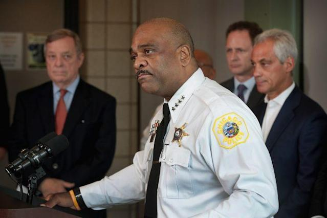 Senator Dick Durbin, D-Ill., police Superintendent Eddie Johnson, and Chicago Mayor Rahm Emanuel at a June 26, 2017, press conference announcing the use of a mobile ATF ballistics lab in Chicago. (Photo: Scott Olson/Getty Images)