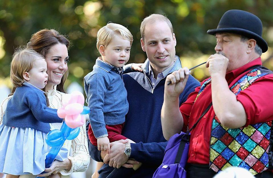 """<p>This <a href=""""https://www.townandcountrymag.com/society/tradition/news/a9162/prince-william-duchess-kate-holiday-card/"""" rel=""""nofollow noopener"""" target=""""_blank"""" data-ylk=""""slk:candid shot"""" class=""""link rapid-noclick-resp"""">candid shot</a> features the royal family during their tour of Victoria, BC. </p>"""