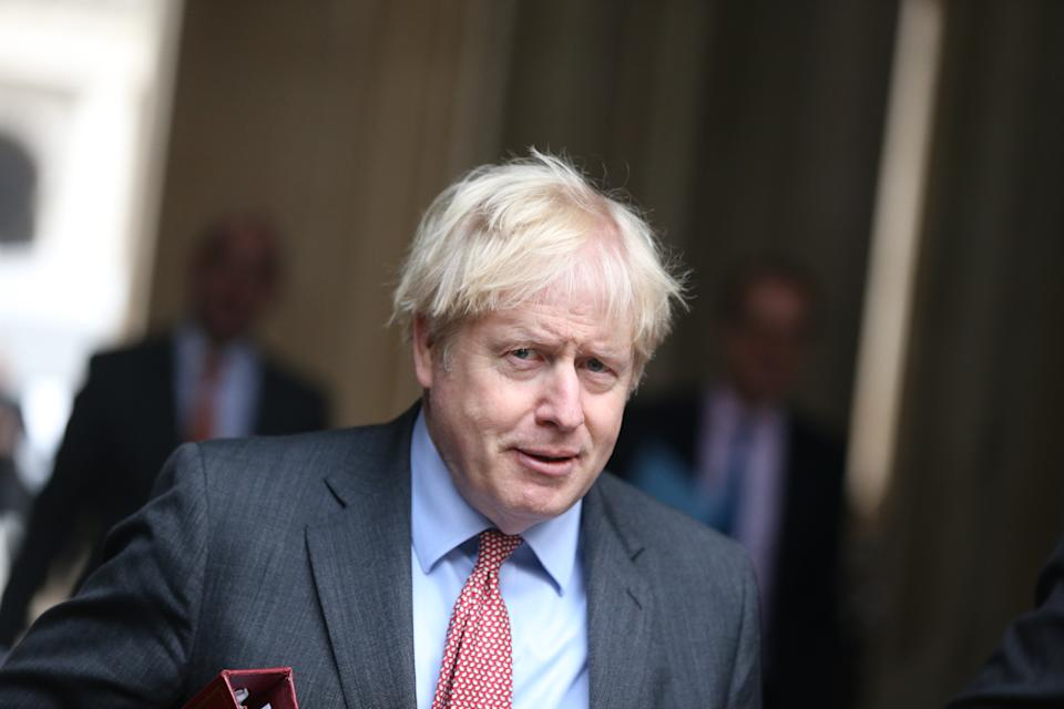 LONDON, ENGLAND - DECEMBER 08: British Prime Minister Boris Johnson arrives at 10 Downing Street after chairing the cabinet meeting in London, United Kingdom on December 8, 2020. (Photo by Tayfun Salci/Anadolu Agency via Getty Images)