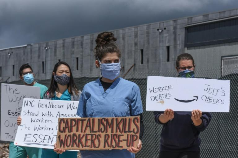Protesters demonstrate outside an Amazon warehouse in New York on 1 May 2020