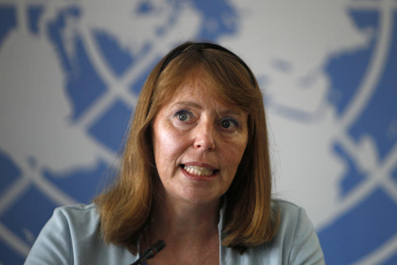 U.N. Special Rapporteur on the Situation of Human Rights in Cambodia Rhona Smith answers questions during a press conference in Phnom Penh, Cambodia, Thursday, Nov. 8, 2018. (AP Photo/Heng Sinith)