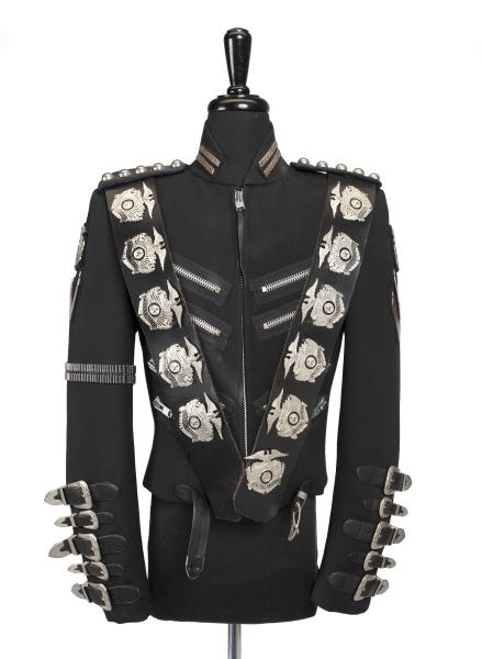 """An undated image released by Julien's Auctions, shows a  Michael Jackson jacket worn on stage for the opening of the BAD concert tour designed by Tompkins and Bush. This item is part of Julien's Auctions  worldwide tour of """"Icons & Idols"""" featuring the fashions of the king of pop opening May 18-June 29, 2012 in Santiago, Chile. (AP Photo/Julien's Auctions) NO SALES"""
