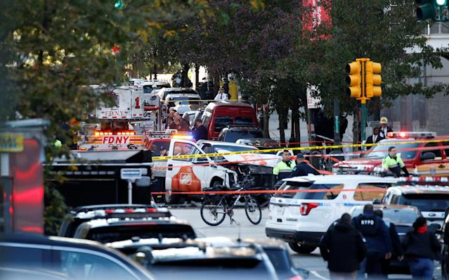 <p>A Home Depot truck which struck down multiple people on a bike path, killing several and injuring numerous others is seen as New York city first responders are at the crime scene in lower Manhattan in New York, Oct. 31, 2017. (Photo: Brendan McDermid/Reuters) </p>