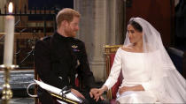 <p>Now they're married, they're no longer Harry and Meghan but the Duke and Duchess of Sussex.(Getty) </p>