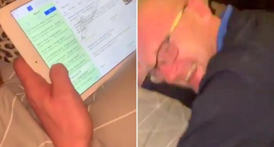 A dad has been left laughing his head off after going through his eight-year-old son's search history on his iPad. Source: Twitter/ Ashleigh Wilson