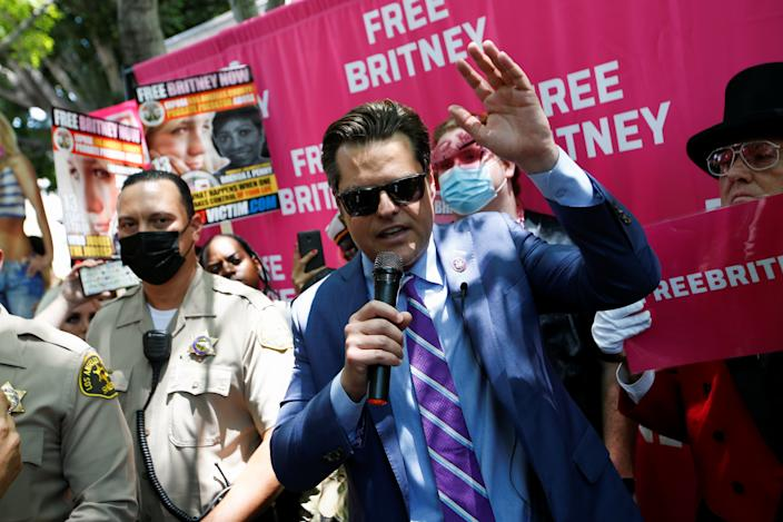 Rep. Matt Gaetz (R-FL) speaks during a protest in support of Britney Spears on the day of a conservatorship case hearing at Stanley Mosk Courthouse in Los Angeles on July 14, 2021.