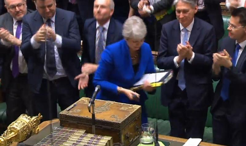 MPs applaud as Prime Minister Theresa May leaves following her final Prime Minister's Questions in the House of Commons, London.