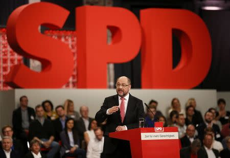 Incoming SPD leader and candidate in the upcoming general elections Schulz addresses an SPD party convention in Berlin