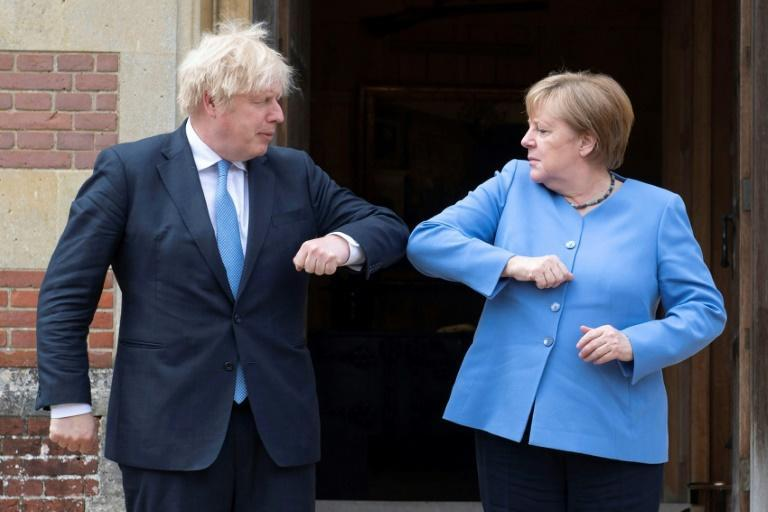 Boris Johnson and Angela Merkel swapped a good-natured exchange after England knocked Germany out of the European footbal championships