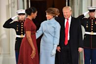 First Lady Michelle Obama (L) greets President-elect Donald Trump and wife Melania to the White House before the inauguration on January 20, 2017 in Washington, D.C. Trump becomes the 45th President of the United States. Photo by Kevin Dietsch/Pool *** Please Use Credit from Credit Field ***