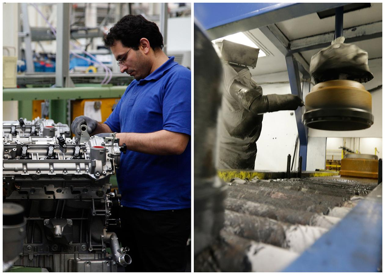 This combination of Associated Press file photos shows a worker, left, assembling a motor in a Mercedes Benz factory in 2008 in Berlin, and a robot, right, painting a brake drum at Webb Wheel Products, in 2013, in Cullman, Ala.. Thanks to robots, Webb Wheel hasn't added a factory worker in over three years, though it's making 300,000 more drums annually, a 25 percent increase
