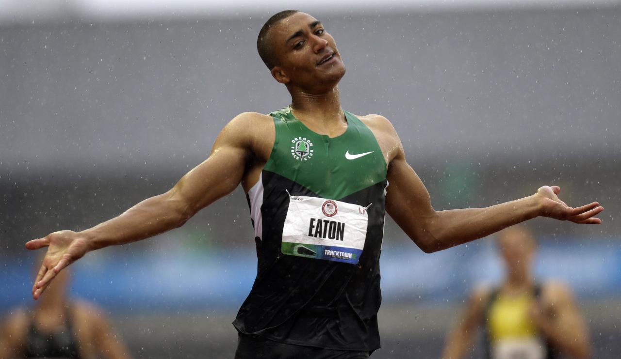 Ashton Eaton reacts after the 400m during the decathlon competition at the U.S. Olympic Track and Field Trials Friday, June 22, 2012, in Eugene, Ore. (AP Photo/Eric Gay)