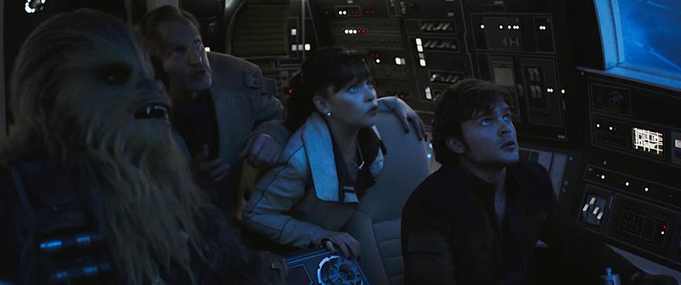 """<p>The backstory of Harrison Ford's scruffy-looking nerf herder comes to light in<a rel=""""nofollow"""" href=""""https://www.yahoo.com/entertainment/tagged/solo"""" data-ylk=""""slk:this Star Wars prequel"""" class=""""link rapid-noclick-resp""""> this <em>Star Wars</em> prequel</a> starring Alden Ehrenreich as a young Han Solo. The comic space western features Donald Glover as Lando Calrissian and Emilia Clarke as Han's pre-Leia love interest. The film has been riddled with <a rel=""""nofollow"""" href=""""https://www.yahoo.com/entertainment/spotless-falcons-kessel-runs-8-things-revealed-solo-teaser-trailer-182849242.html"""" data-ylk=""""slk:production;outcm:mb_qualified_link;_E:mb_qualified_link;ct:story;"""" class=""""link rapid-noclick-resp yahoo-link"""">production</a> <a rel=""""nofollow"""" href=""""https://www.yahoo.com/entertainment/lucasfilm-unsatisfied-alden-ehrenreich-performance-han-solo-report-154036007.html"""" data-ylk=""""slk:problems;outcm:mb_qualified_link;_E:mb_qualified_link;ct:story;"""" class=""""link rapid-noclick-resp yahoo-link"""">problems</a> — but then again, so was <em>Rogue One, </em>which turned out better than fine. 