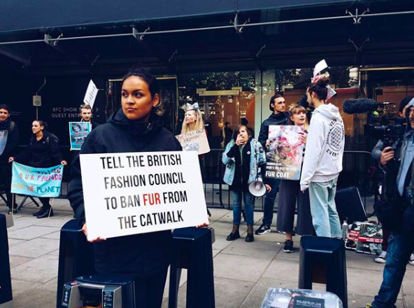 Animal rights activists rally against the use of animal fur at London Fashion Week [Photo: Instagram]