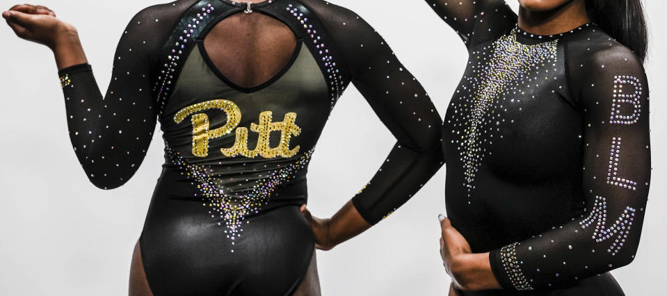 "This image provided by Pitt Athletics show the university's new gymnastics uniform. The social justice movement in college athletics has popped up in most unusual place: gymnastics. From UCLA to Pittsburgh, Black gymnasts and the programs they represent are using their platform to empower and uplift. On Sunday, Pitt will wear ""Black Lives Matter"" leotards during their meet with Temple, a highly visible part of the program's ""Until We Unite"" campaign. (Justin M. Pondexter/Pitt Athletics via AP)"