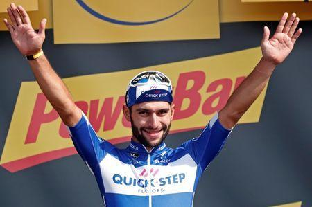 Cycling - Tour de France - The 195-km Stage 4 from La Baule to Sarzeau - July 10, 2018 - Quick-Step Floors rider Fernando Gaviria of Colombia celebrates his stage win. REUTERS/Benoit Tessier