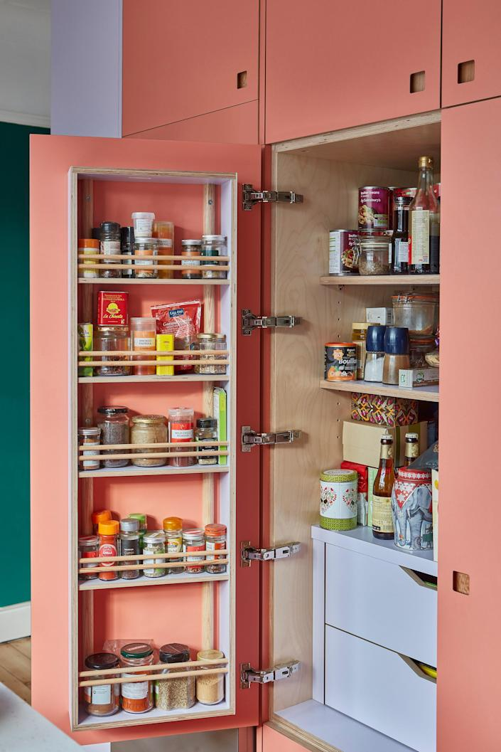 Spices fit brilliantly in the pantry door.