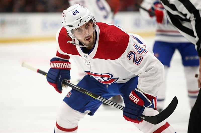 Canadiens' Phillip Danault hit in head by Zdeno Chara slap shot