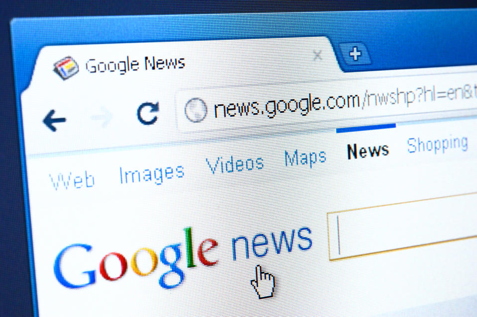 Izmir, Turkey - March 27, 2011: Close up of Google News main page on the web browser. Google News is Google\'s search engine of news services worldwide.