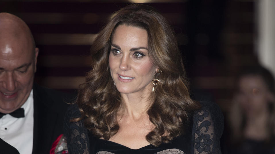 LONDON, ENGLAND - NOVEMBER 18:  Catherine, Duchess of Cambridge attends the Royal Variety Performance at Palladium Theatre on November 18, 2019 in London, England. (Photo by Mark Cuthbert/UK Press via Getty Images)